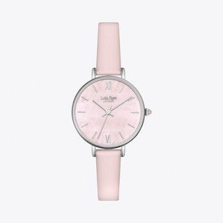 Rose Quartz Watch in Silver & Pale Pink