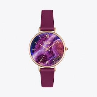 Purple Agate Watch in Gold & Purple