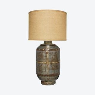Caisson Table Lamp with Drum Shade - Gunmetal / Natural Burlap