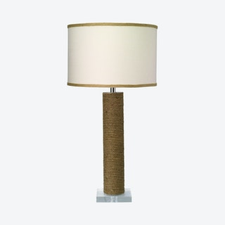 Cylinder Table Lamp with Drum Shade - Jute / White