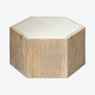 Argan Hexagon Table - Natural / White