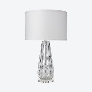 Laurel Table Lamp with Drum Shade - Clear / White