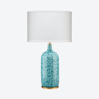 Madeline Table Lamp with Drum Shade - Blue / White
