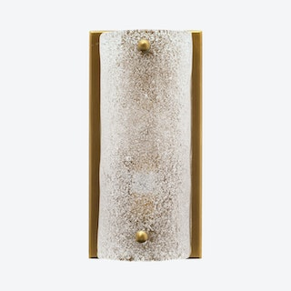 Moet Rounded Sconce Lamp - Textured Melted Ice / Antique Brass