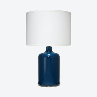 Napa Table Lamp with Drum Shade - Navy / White