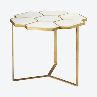 Perennial Side Table - White / Brass