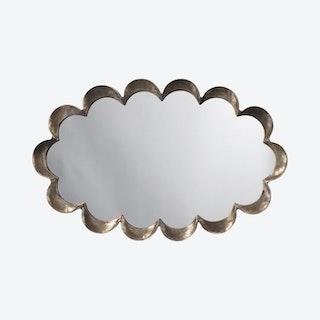 Scalloped Mirror - Antique Silver