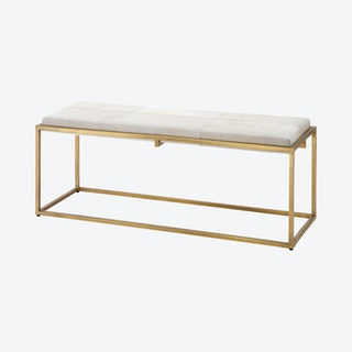 Shelby Bench - White / Antique Brass