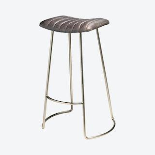 Luke Bar Stool - Grey / Nickel