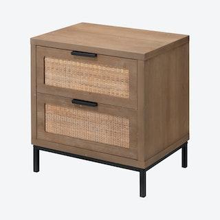 Reed 2-Drawer Side Table - Black / Natural