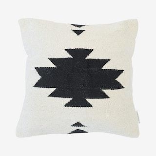 Cali Woven Pillow Cover - White / Black - Cotton