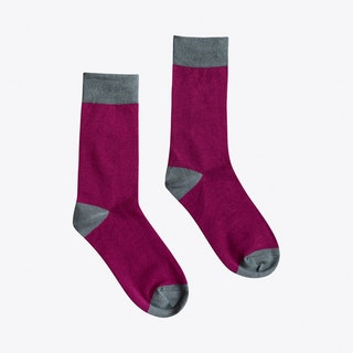 Heel & Toe Socks in Maroon & Grey