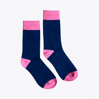 Heel & Toe Socks in Navy & Pink