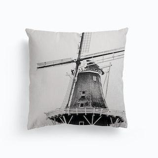 Dutch Windmill On White Background Canvas Cushion