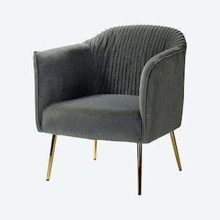 Cendea Barrel Chair - Grey - Velvet