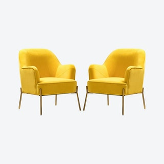 Nora Accent Chairs - Yellow - Velvet - Set of 2