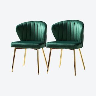 Milia Dining Chairs - Green - Velvet - Set of 2
