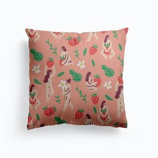 Strawberries Canvas Cushion