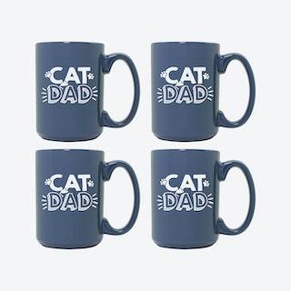 Cat Dad Steel Blue Ceramic Mug - Set of 4