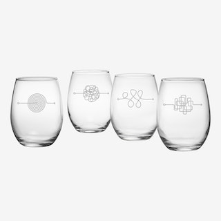 Abstract Arrows Stemless Wine Glass - Set of 4