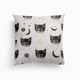 Cute Cats And Space Pattern Canvas Cushion