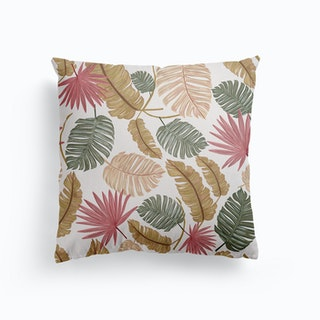 Nature Color Hand Drawn Tropical Leaves Pattern Canvas Cushion