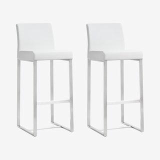 Denmark Barstools - White / Silver - Set of 2