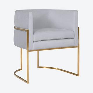 Giselle Dining Chair - Grey / Gold - Velvet