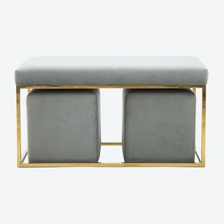 Lila Bench and Ottoman - Grey / Gold - Velvet - Set of 3