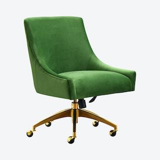 Beatrix Office Swivel Chair - Green / Gold - Velvet
