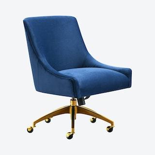 Beatrix Office Swivel Chair - Navy / Gold - Velvet