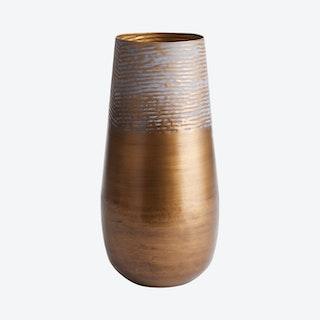 Lena Tall Vase - Antique Gold / Gray Patina