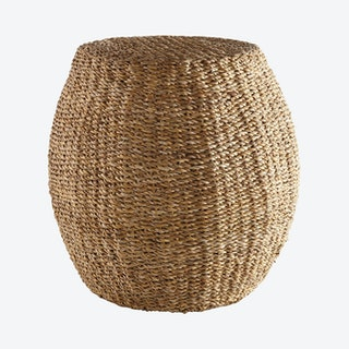 Seagrass Hourglass Pouf - Natural - Seagrass
