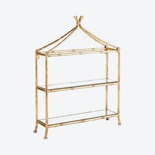Daphne 2 Tier Curio Shelf - Gold - Mirrored Glass