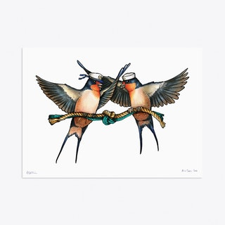 A Pair of Swallows in Sailor Hats A3 Art Print