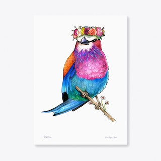Lilac Breasted Roller in a Floral Head Crown A3 Art Print