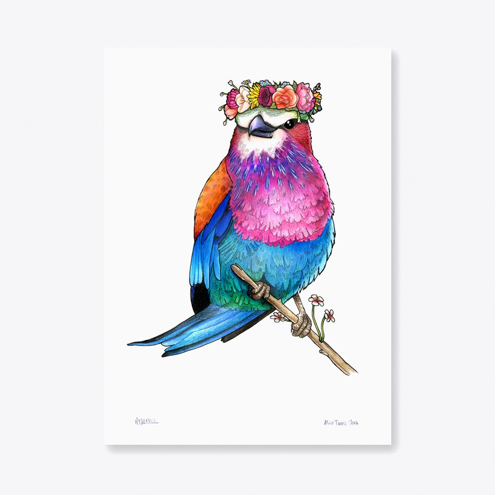 Lilac Breasted Roller in a Floral Head Crown A3 Print