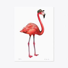 Flamingo in a Tropical Cap A3 Art Print