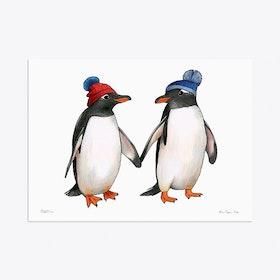 Gentoo Penguins in Bobble Hats A3 Art Print
