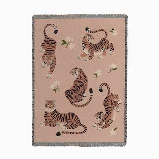 Fierce Tigers in Peach Woven Throw
