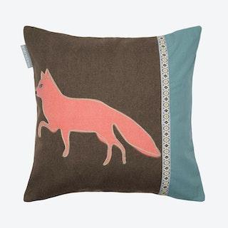 Forest Fox Square Pillow Cover - Blue / Orange