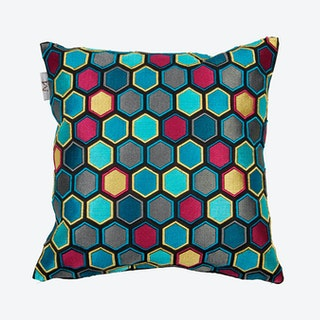 Honey Square Pillow Cover - Blue / Red