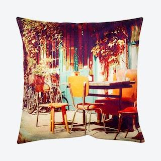Vintage Cafe Square Pillow Cover - Green / Orange