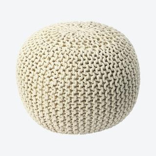 Pincushion Woven Pouffe - Cream
