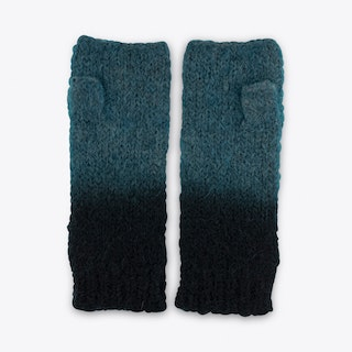Bess Mohair Wristwarmers in Teal Ombre