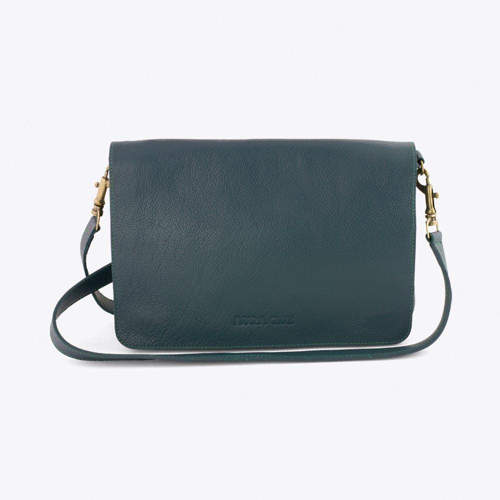 Bina Leather Clutch in Teal