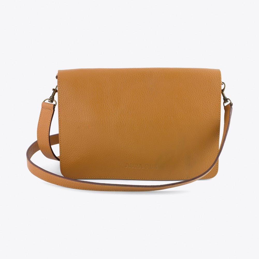 Bina Leather Clutch in Tan