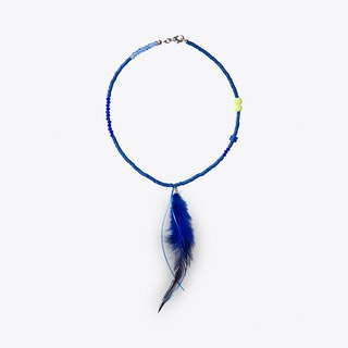 Feather & Bead Necklace in Blue & Yellow