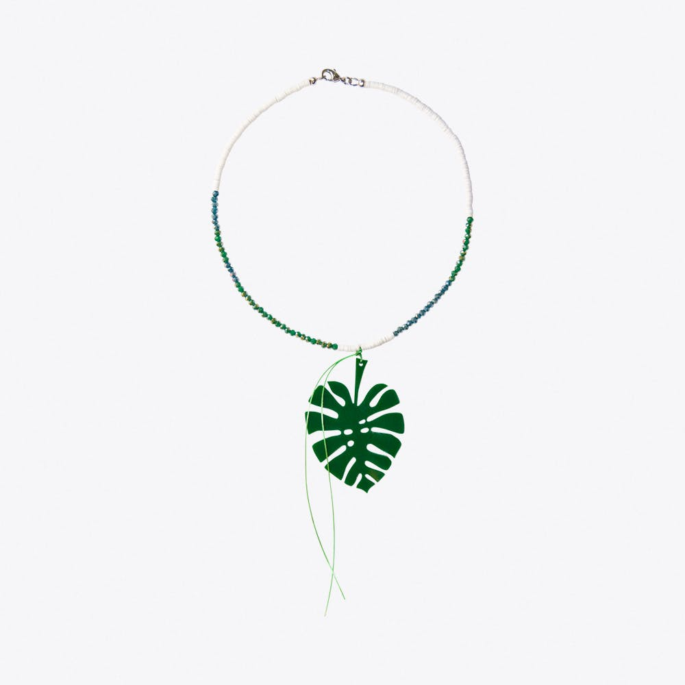 Monstera Leaf & Bead Necklace