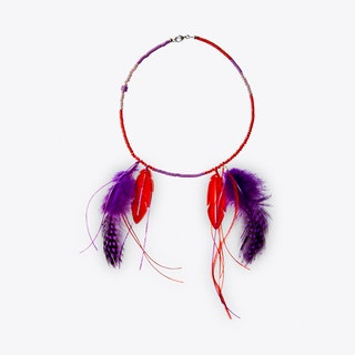 Feather & Acrylic Necklace in Red